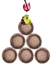 Wine Barrels Isolated With Gra...