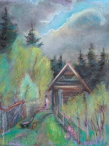deszczowe-chmury-nad-drewniana-chata-w-lesie-obraz-olejny-na-plotnie