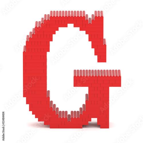 Foto op Aluminium Pixel Letter G built from toy bricks