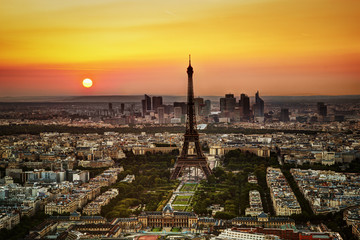 FototapetaParis, France at sunset. Aerial view on the Eiffel Tower