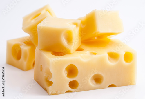 Emmental cheese portions on white base