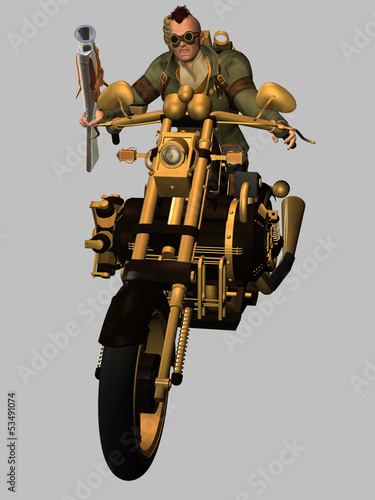 Poster Motocyclette Steampunk Biker
