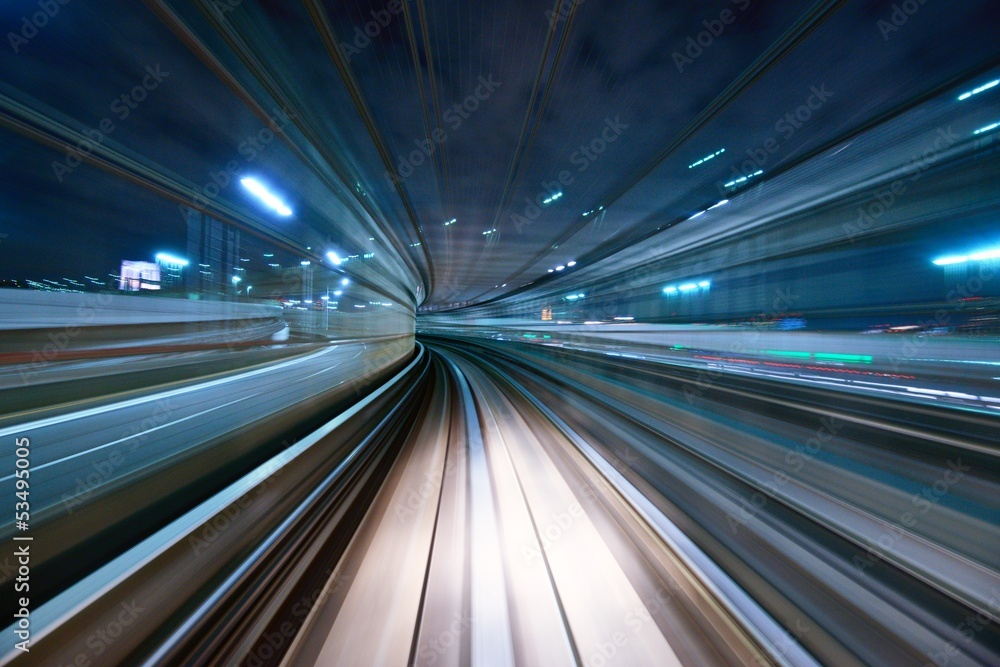 Fototapeta Motion Blur from a Tokyo Monorail