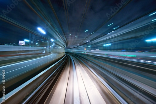 Canvas Prints Asian Famous Place Motion Blur from a Tokyo Monorail