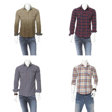 Male Mannequin Dressed In Cotton Plaid Shirt Dress Collection