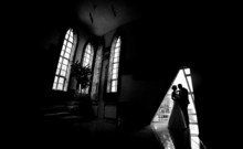 Silhouette Of A Bride And Groom In An Interior