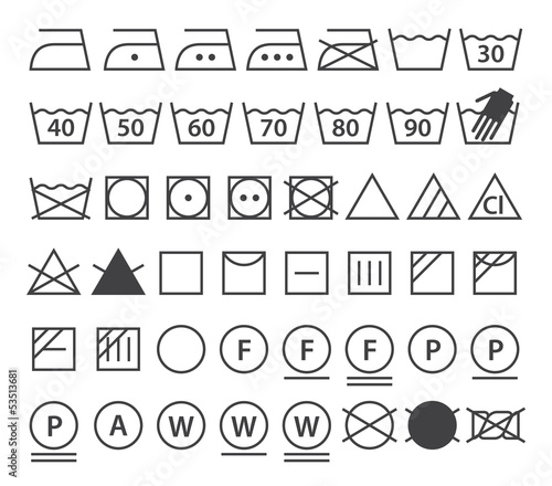 Set Of Washing Symbols Laundry Icons Buy This Stock Vector And