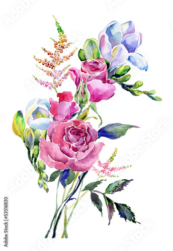 Obraz w ramie Watercolor bouquet with roses