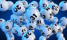 Lottokugeln Fliegen Auf Blauem...