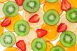 Sliced orange, lemon, strawberry and kiwi