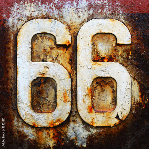 Keuken foto achterwand Route 66 sixty six route road highway sign travel historic usa vintage