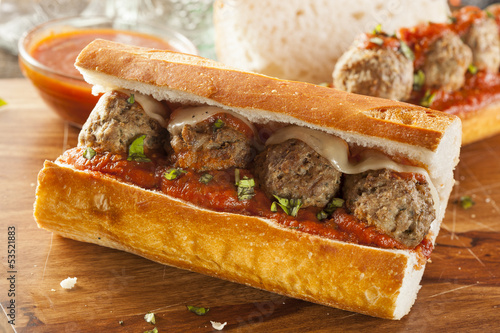 Staande foto Snack Hot and Homemade Spicy Meatball Sub Sandwich