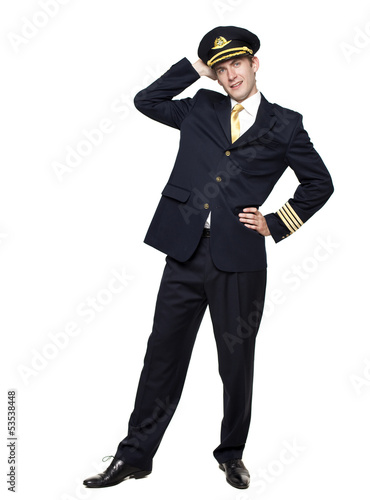 Valokuvatapetti Young man in the form of a passenger plane pilot