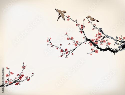 drzewo-z-czerwonymi-kwiatami-i-ptakami-ilustracja