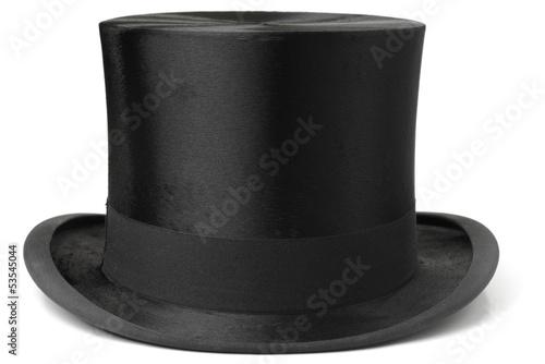 Obraz Black top hat isolated on white background - fototapety do salonu