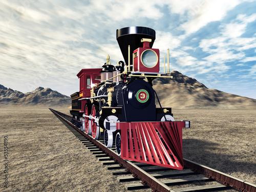 czerwona-lokomotywa-parowa-na-dzikim-zachodzie