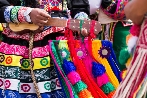 Peruvian dancers at the parade in Cusco. Canvas Print