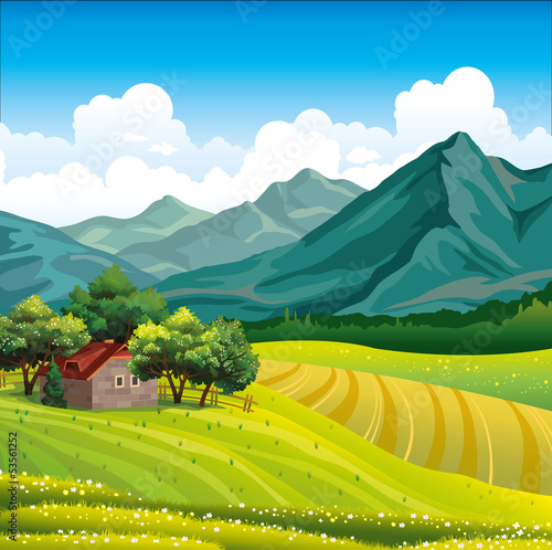 Fotobehang Wit Landscape with wooden house and green field