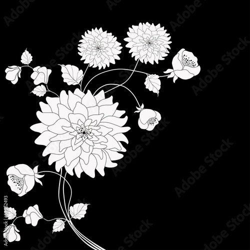 Tuinposter Bloemen zwart wit Floral background