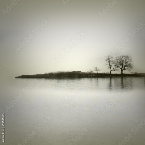 Fotobehang Wit Landscape in sepia tones