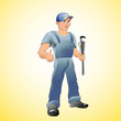 Smiling young repairman. Vector illustration /EPS 10