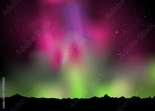 illustration of the northern lights aurora in the sky Poster