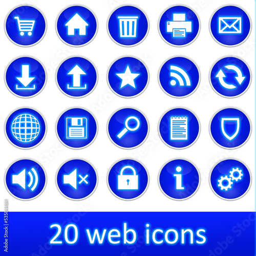 Fotomural  20 web icons blue