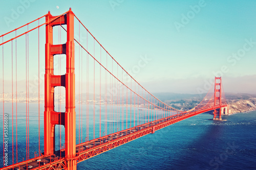 Fotobehang San Francisco Golden Gate Bridge im Abendlicht - San Francisco