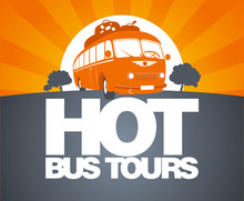 Hot Bus Tours Design Template With Retro Bus