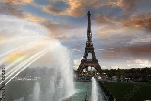 Eiffel Tower  with fountain in  Paris, France