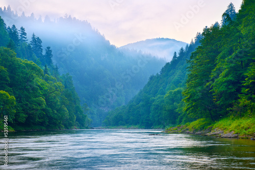 The gorge of mountain river in the morning