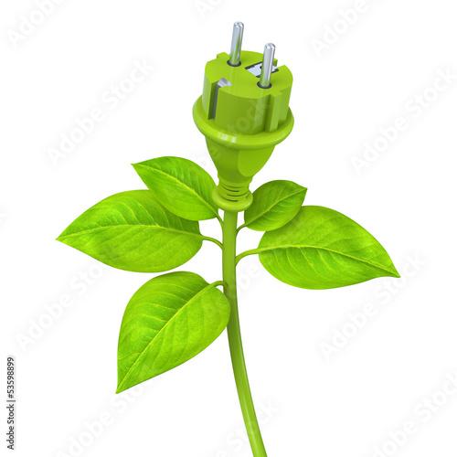 Fotografie, Obraz  Green power plug - plant