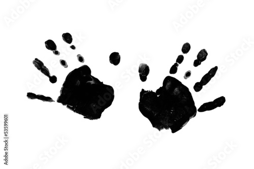 Fotografia, Obraz  Black prints of children's hands isolated on a white background