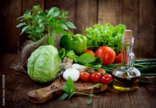 Deurstickers Keuken Fresh organic vegetables