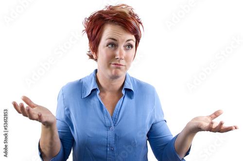 Fotografie, Obraz  young redhead waitress reacting to stress