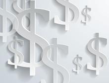 White Dollar Symbols On White Background
