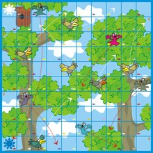 Game-birds And Ghosts, Board Game, Vector Illustration