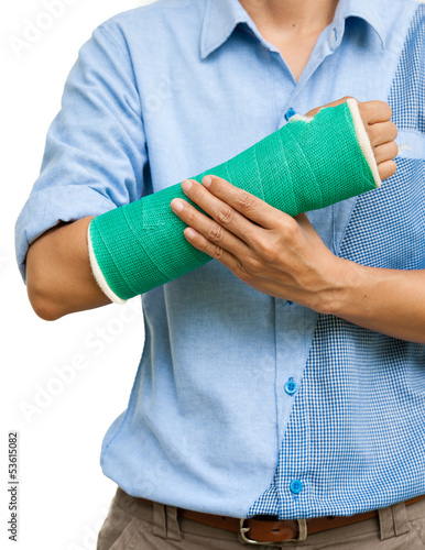 Fotografía  Green cast on an arm of a women isolated