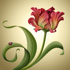 Plakat illustration of a beautiful red tulip flower with ladybug