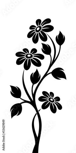 czarna-sylwetka-oddzialu-z-kwiatami-ilustracji-wektorowych