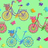 Bezszwowy wzór kolorowi rowery - 53633617