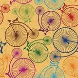 Bezszwowy wzór retro rowery - 53634205