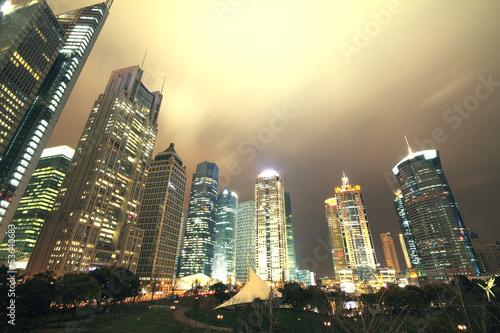 Look up modern office buildings in Shanghai Poster