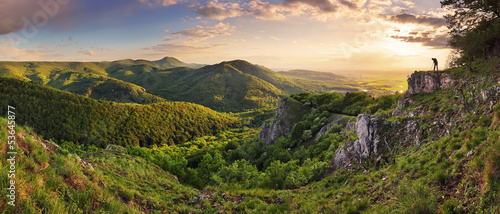 Poster Heuvel Green Rocky moutain at sunset - Slovakia