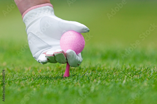 Deurstickers Golf Ladies golf hand placing pink tee and ball into ground.