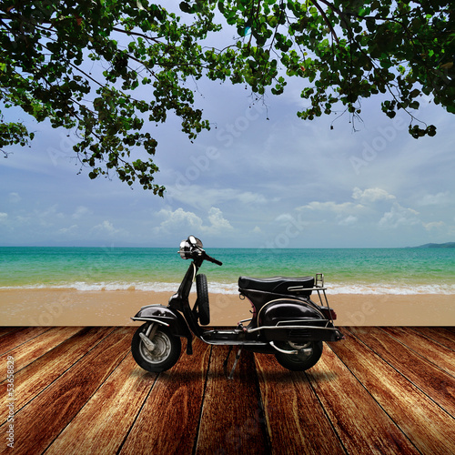 Papiers peints Scooter Scooter on the beach, Travel in summer time concept