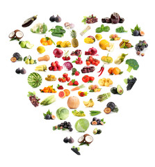 Panel Szklany Owoce Heart made from various fruits and vegetables isolated on white