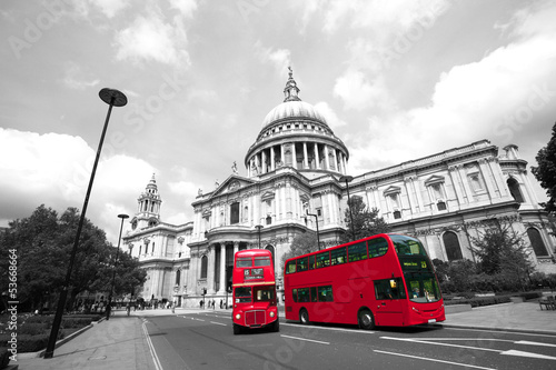 Poster Londres bus rouge London Routemaster Bus, St Paul's Cathedral