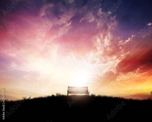 Bench at sunset