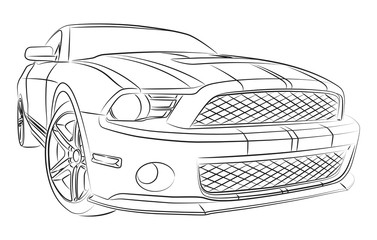 Modern muscle car drawing